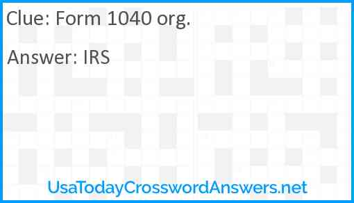 Form 1040 org. Answer