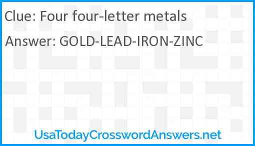 Four four-letter metals Answer