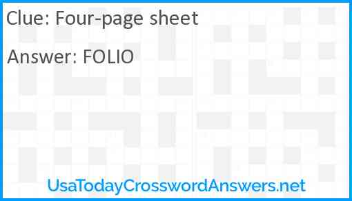 Four-page sheet Answer