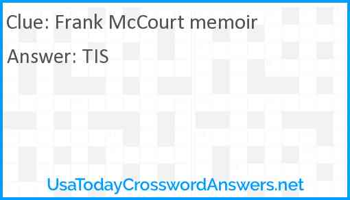 Frank McCourt memoir Answer
