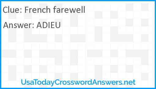French farewell Answer