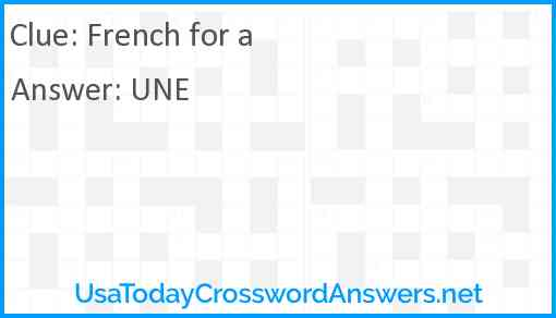 French for a Answer