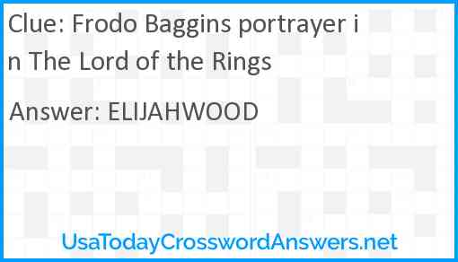 Frodo Baggins portrayer in The Lord of the Rings Answer