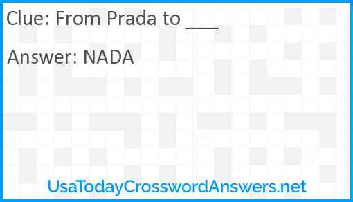 From Prada to ___ Answer