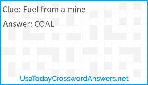 Fuel from a mine Answer