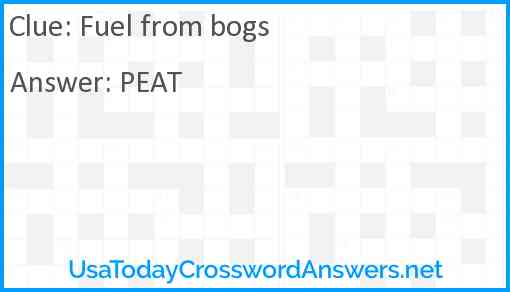 Fuel from bogs Answer