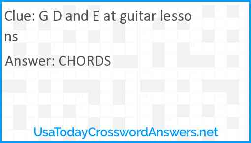 G D and E at guitar lessons Answer