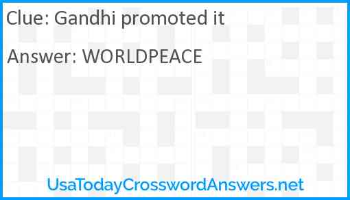 Gandhi promoted it Answer