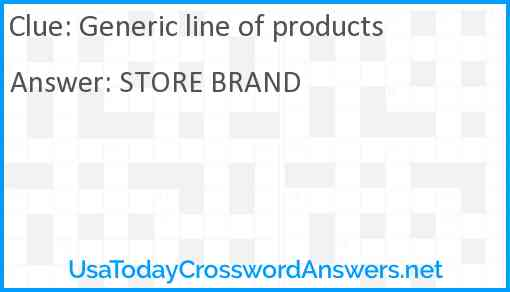 Generic line of products Answer