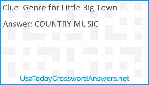 Genre for Little Big Town Answer