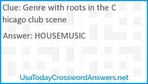 Genre with roots in the Chicago club scene Answer