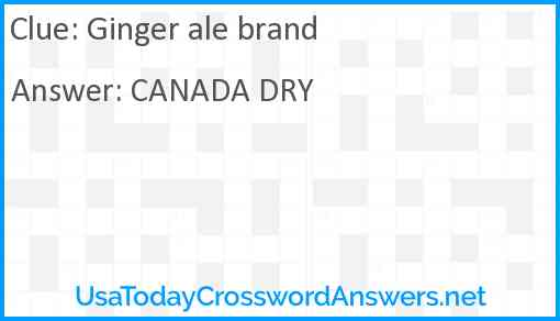 Ginger ale brand Answer