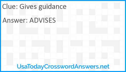 Gives guidance Answer