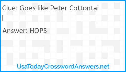 Goes like Peter Cottontail Answer