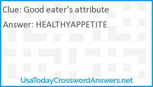 Good eater's attribute Answer