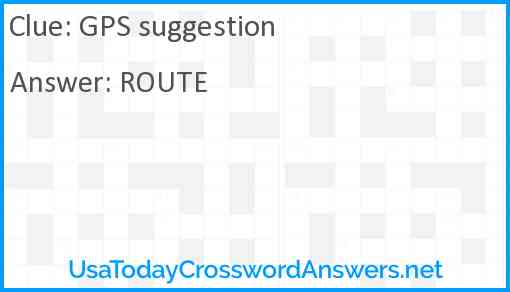 GPS suggestion Answer