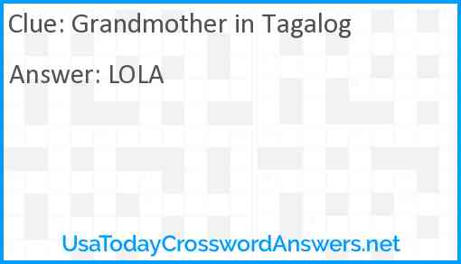 Grandmother in Tagalog Answer