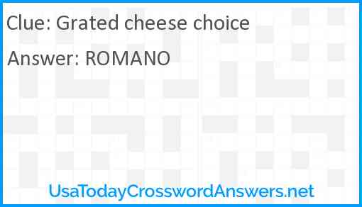 Grated cheese choice Answer
