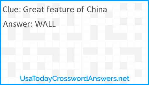 Great feature of China Answer