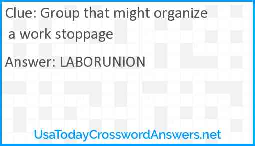 Group that might organize a work stoppage Answer