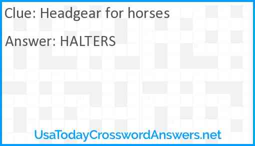 Headgear for horses Answer