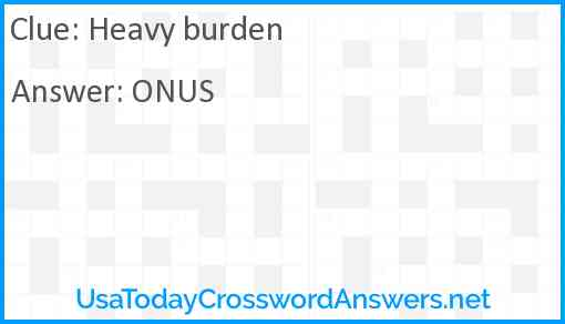 Heavy burden Answer