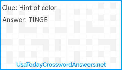 Hint of color Answer