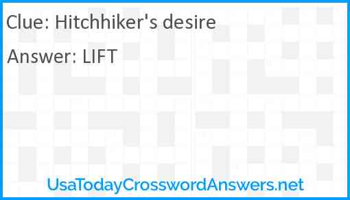 Hitchhiker's desire Answer