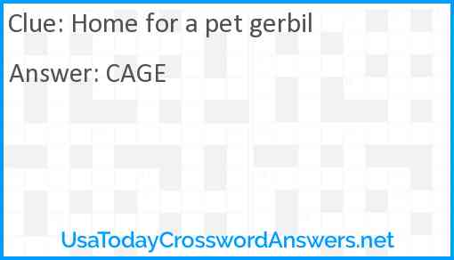 Home for a pet gerbil Answer