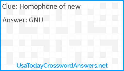 Homophone of new Answer