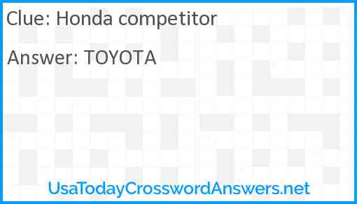 Honda competitor Answer