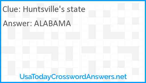 Huntsville's state Answer