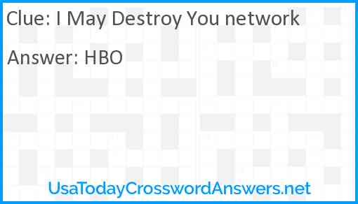 I May Destroy You network Answer