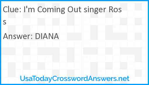 I'm Coming Out singer Ross Answer