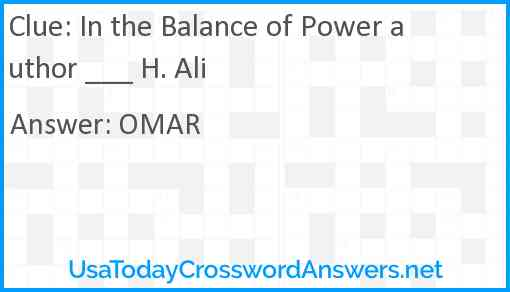 In the Balance of Power author ___ H. Ali Answer
