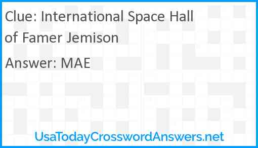 International Space Hall of Famer Jemison Answer