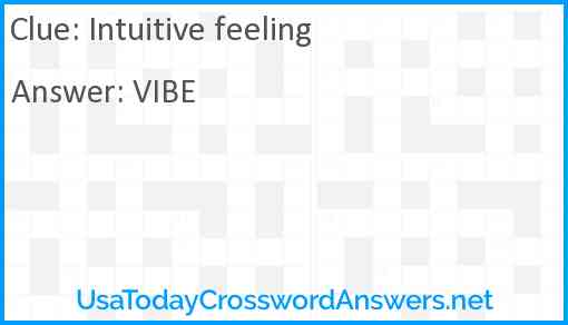 Intuitive feeling Answer