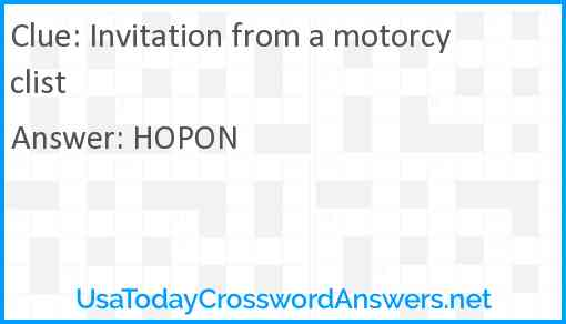 Invitation from a motorcyclist Answer