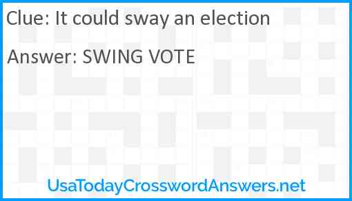 It could sway an election Answer