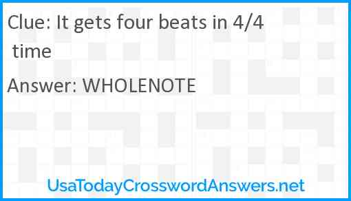 It gets four beats in 4/4 time Answer