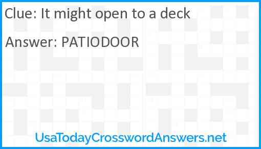 It might open to a deck Answer