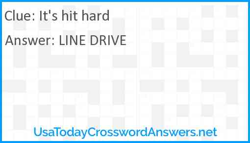 It S Hit Hard Crossword Clue Usatodaycrosswordanswers Net