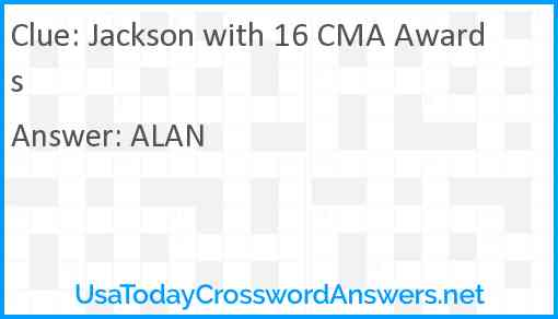 Jackson with 16 CMA Awards Answer