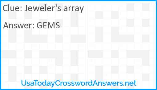 Jeweler's array Answer
