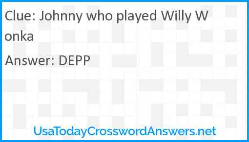 Johnny who played Willy Wonka Answer