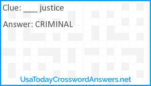 ___ justice Answer
