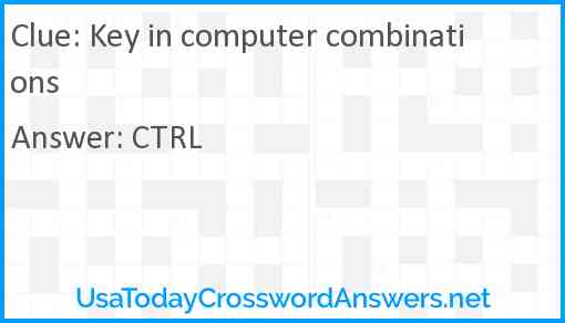 Key in computer combinations Answer