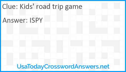 Kids' road trip game Answer