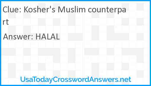 Kosher's Muslim counterpart Answer
