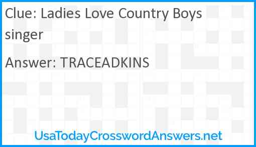 Ladies Love Country Boys singer Answer